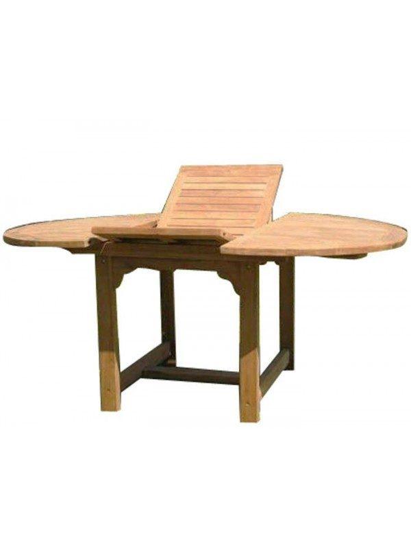 Mesa de teca extensible oval 180 240x120x75cm muebles - Comoda mesa extensible ...
