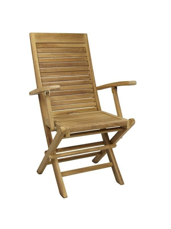 Silla de teca plegable sunny con brazos muebles jardin for Sillas teka jardin