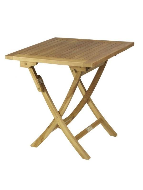 Conjunto teca mesa cuadrada 70x70 muebles jardin for Mesa cuadrada plegable