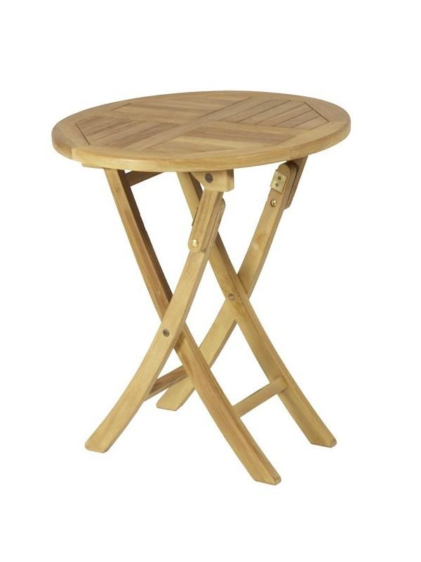 Conjunto de teca mesa redonda 60x75 muebles jardin for Conjuntos de jardin plegables