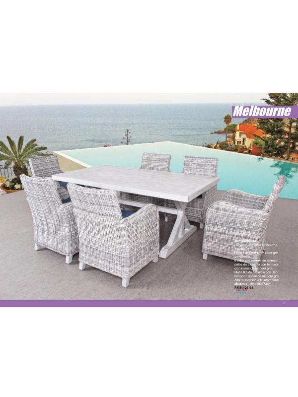 Muebles terraza jardin exterior de teca fibra sintetica y for Oferta conjunto jardin