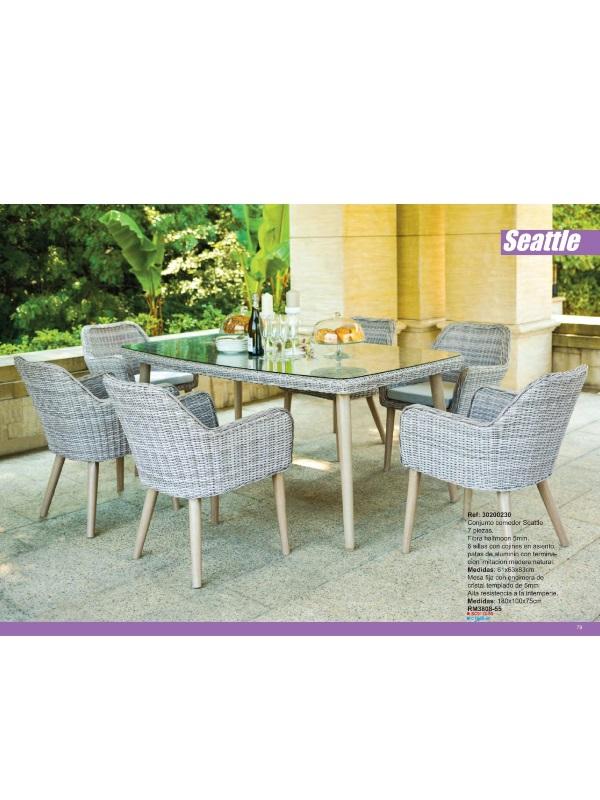 muebles terraza jardin exterior de teca fibra sintetica y